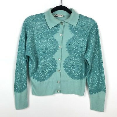 VTG 1950s Womens S/M Teal Rhinestone Lace Print Button Up Cardigan Sweater