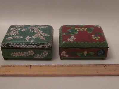 pair Antique Chinese Cloisonne green Hinged Trinket Box Floral Design brass