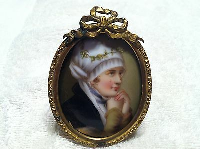 Antique Lady  Small Painting on Porcelain in Original Brass Frame  Exquisite