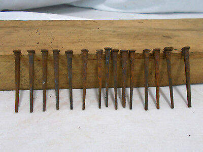 "Vintage Lot Of 15 Square Cut Nails 2 1/2"" Craft Restoration Antique Rust Salvage"