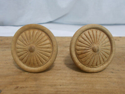 Vintage Matching Set of 2 Round Wood Decorative Drawer Pulls Knobs Flower Design