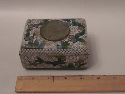Chinese White Cloisonne Floral Carved Floral Jade Hinged Box antique trinket