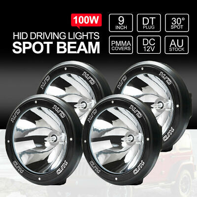 9 inch 100W HID Driving Lights Offroad 4x4 Truck 12V Spotlights BLACK TWO PAIRS