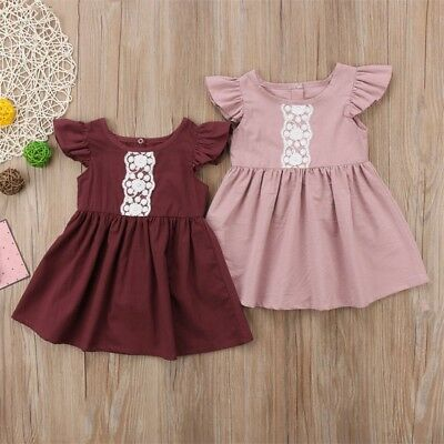 Toddler Baby Girls Clothes Newborn Kids Infant Party Lace Dress Summer Tops