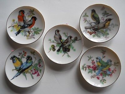 "Vintage Lot of 5 Decorative 4"" Bird Design Gold Rimmed Saucer/Wall Plates ~Japan"