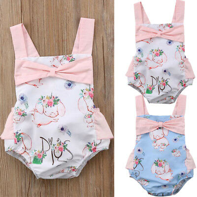 US Newborn Kids Baby Girls Summer Piggy Romper Jumpsuit Bodysuit Clothes Outfits