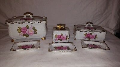 Lefton Esd China Pink Red Roses Lighter Ashtrays Cigarette Trinket Boxes