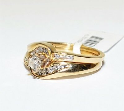 9k Yellow Gold Diamond 2x Ring Bridal Set Swirl Engagement Wedding 3.9gm #620