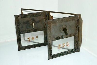 Greek Yale Double Mail * * BRASS POST OFFICE BOX DOOR * * Vintage Keyed Lock Set