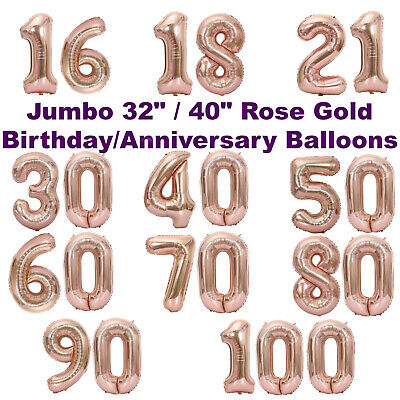 Giant Rose Gold Birthday Decorations   Anniversary Balloons 21st 18th 30th 40 50