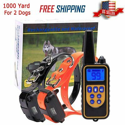Rechargeable Electric Remote 2 Dog Training Shock Collar 1000M Waterproof LCD US
