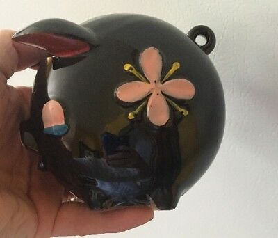 Vintage Handpainted Ceramic Piggy Bank Brown Pig with Pink Flowers from Germany