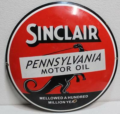 Porcelain Domed Pump Plate Dino Sinclair Motor Oil Advertising Sign