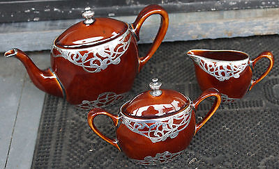 Art Nouveau Silver Overlay Brown Crown Staffordshire Teapot, Creamer & Sugar Set