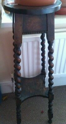 Antique Arts & crafts solid wood barley twist leg two tier plant stand table