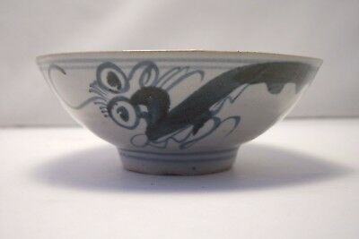 Antique  Vintage Old  Chinese Porcelain  Hand Painted  Rice Bowl