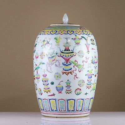 Antique Chinese 19th c Late Qing Famille Rose 'Treasures' Porcelain Ginger Jar