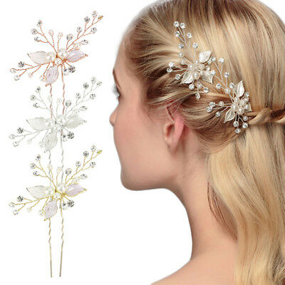Wedding Bridal Bridesmaid Pearl Crystal Leaf Headpiece Hair Pin Hairpin Jewelry