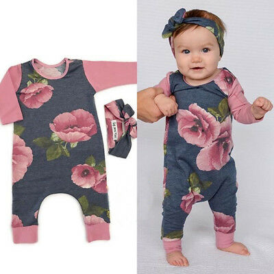 Toddler Baby Kids Girls Flower Print Romper Jumpsuit Outfits Set Cotton Clothes