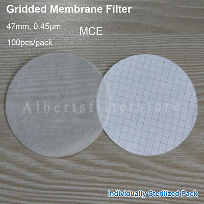 100pc/pack MCE Gridded Membrane Filter 47mm, 0.45μm,For Microbiological Analysis