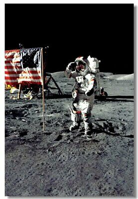 Poster Astronaut on the Moon Earth Planet A Men Drink Beer USA Flag Print 11