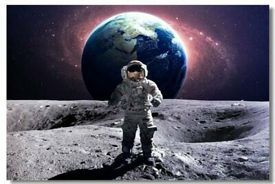 Poster Astronaut on the Moon Earth Planet A Men Drink Beer USA Flag Print 06