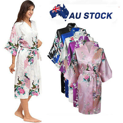 Floral Satin Robe Kimono Women's Dressing Gown Vintage Wedding Bride Bridesmaid