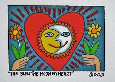 James Rizzi The Sun The Moon My Heart - Farblithografie