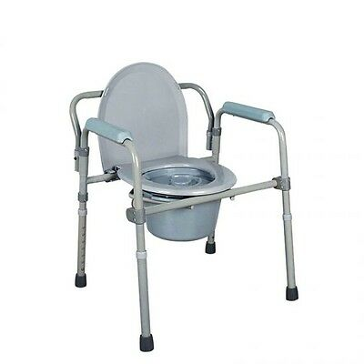 Toilet Seat Potty Commode Chair Bedside Folding Drop Arm Safety For Adult Grey