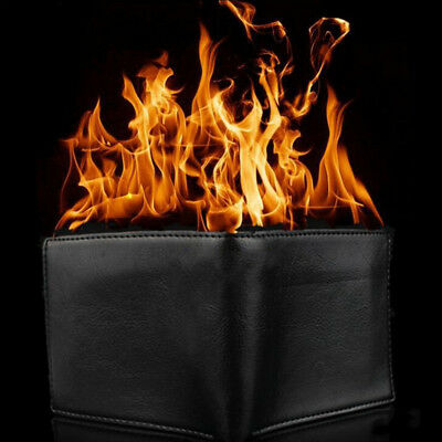 Magic Trick Big Fire Wallet Stage Street Show Faux Leather Bifold Purse Ornate