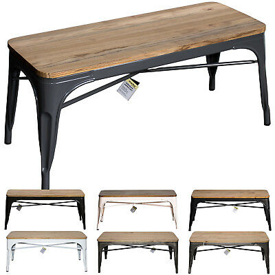 Industrial Bench Seat Metal Rustic Vintage Furniture Tolix Style Coffee Table