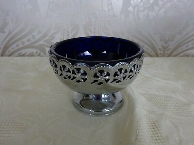 Vintage Retro Queen anne Style Silver Plated Ornate Blue Glass insert Sugar Bowl