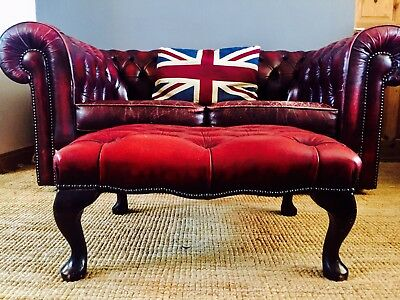 Vintage Large Chesterfield Footstool in Oxblood Red Leather