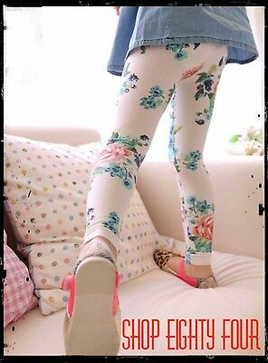 Kids Girls Toddler Floral vintage Leggings Cotton Size 2 3 4 5 6