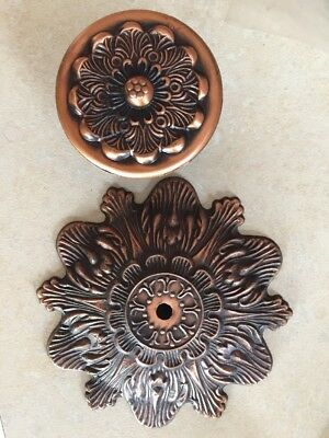 NOS VTG Lot Of 9 Ornate Floral Motif Pull Knobs & Back Plates 18 Pc Brass Finish
