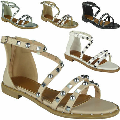 4c31d5acd3ad9 Womens Studded Gladiator Sandals Ladies Strappy Summer Buckle Flat Shoes  Size 1 of 1FREE Shipping ...