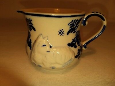 Vintage Delft Blue Hand Painted Cat & Flowers Design Small Creamer