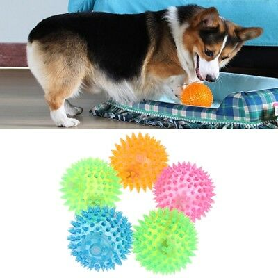 Novelty Pet Ball Dogs Cat Puppy Flash Light Squeaky Sensory High Bouncing Rubber