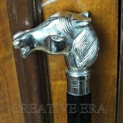 Antique Style Brass Solid Horse Head Handle Wooden Walking Cane Vintage Cane