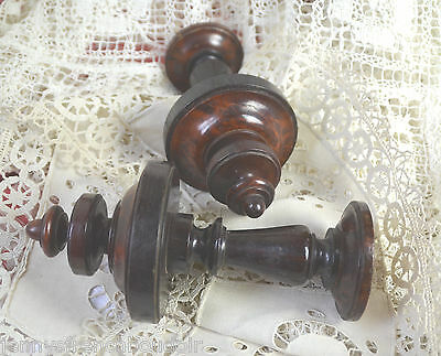 Pair of antique hand turned wooden finials