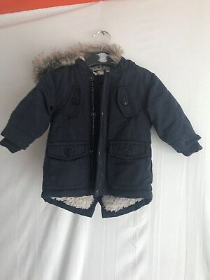 Baby Boys Navy Blue Warm Lined Hooded Parka Coat * 3-6 Months * Next