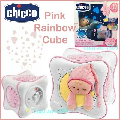 NEW Chicco Rainbow Cube Night Light Nursery Musical Projector Baby Girl Pink