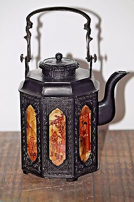 Fantastic antique Chinese cast iron tea kettle, 7 hand painted panels