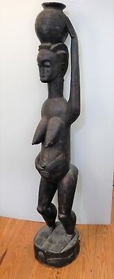 """African Yaure Carved Wood Female Guardian Fertility Figure 70"""" NOTE LARGE SIZE"""