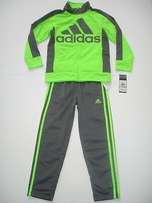 NWT Boy 7 - adidas Track Suit - Jacket and pants - Neon Green and Gray