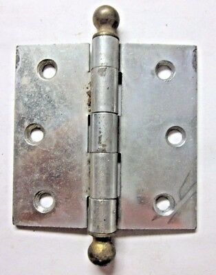 "1 antique McKinney square 3"" 2-tone nickel brass mortise door hinge w. ball tips"