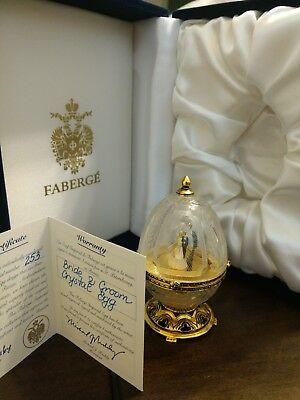 FABERGE Bride and Groom Crystal Egg with Official Certificate and Box - #253