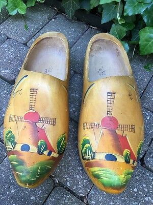 """Pair of Large Wooden Shoes from Holland Wood Hand Carved & Painted 14"""" Windmill"""