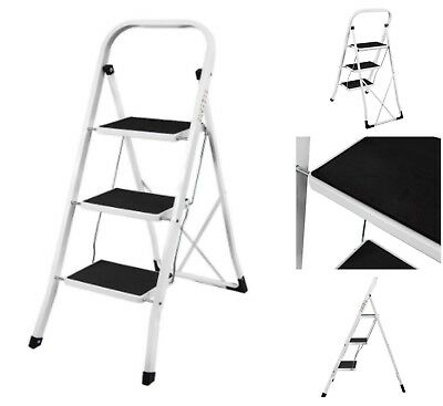 Ladder 3 Step Heavy Duty Steel Folding Portable With Anti-Slip Mat Equipment