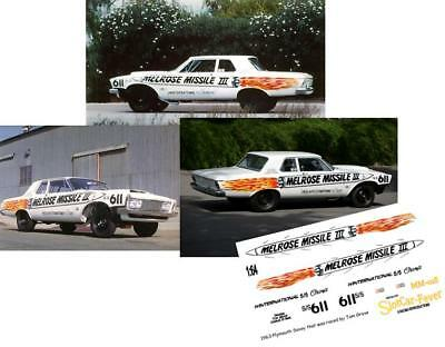 CD_MM_018 Tom Grove 1963 Melrose Missile III Plymouth  1:25 Scale Decals